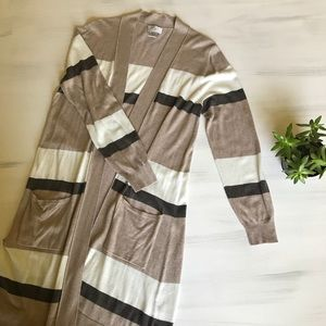 Brown stripe super soft long cardigan
